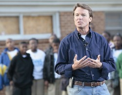 John Edwards announcing his candidacy for president, New Orleans, Dec. 28, 2006.