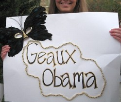Obama supporter at Tulane University, Weds. Feb. 6, 2008, before the Illinois senator's speech at Fogelman Arena. Photo by 99.5fm.com.