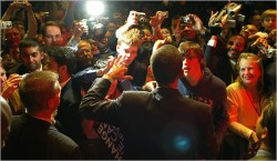 Sen. Barack Obama works the rope line at the Jefferson-Jackson Dinner in Richmond,  Va., Sat., Feb. 9, the night he won the Louisiana primary and caucuses in Washington,  Nebraska, and the Virgin Islands. Photo by Ozier Muhammad/The New York Times.