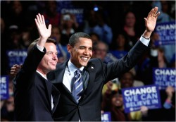 John Edwards and Barack Obama in Grand Rapids, Mich., May 14.