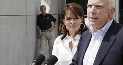 Palin and McCain at Mississippi Emergency Management  Agency, Jackson, Aug. 31.