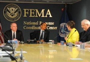 President Obama with Homeland Security Council president John O. Brennan  (left), DHS secretary Janet Napolitano, and FEMA administrator Craig Fugate.  FEMA photo by Bill Koplitz.