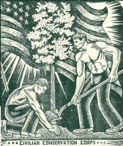 Linoleum block print by Friedolin Kessler, CCC, 1936.