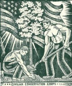 Linoleum block print by Friedolin Kessler, CCC, 1936.